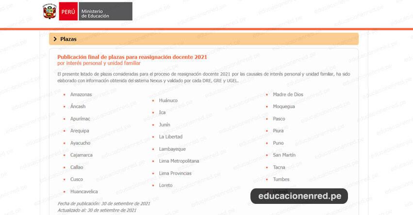MINEDU publicó plazas para Reasignación Docente 2021 [30 SETIEMBRE]
