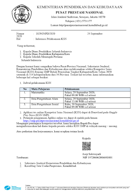 surat edaran jadwal pelaksanaan ksn smp babak penyisihan tingkat kabupaten kota tahun 2020 tomatalikuang.com