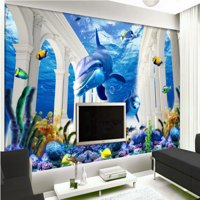 Dolphin Wall Mural Underwater 3D Coral Reef