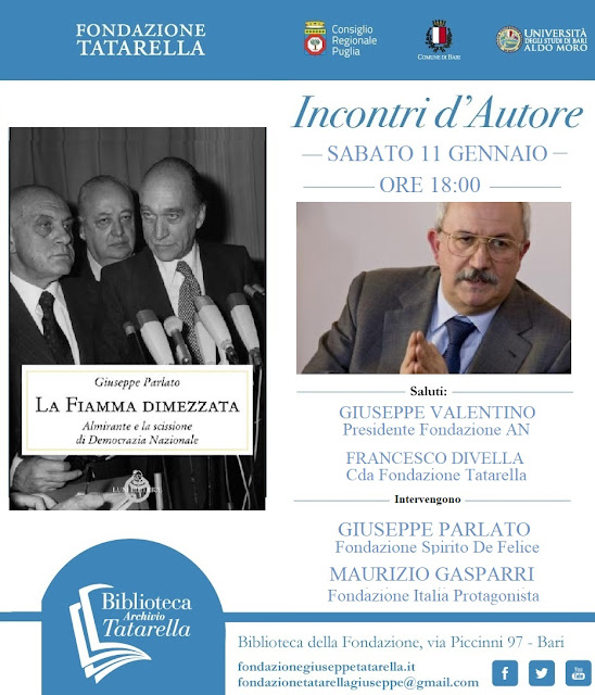 """""""La Fiamma Dimezzata"""" in Fondazione Tatarella il libro dello storico Giuseppe Parlato"""
