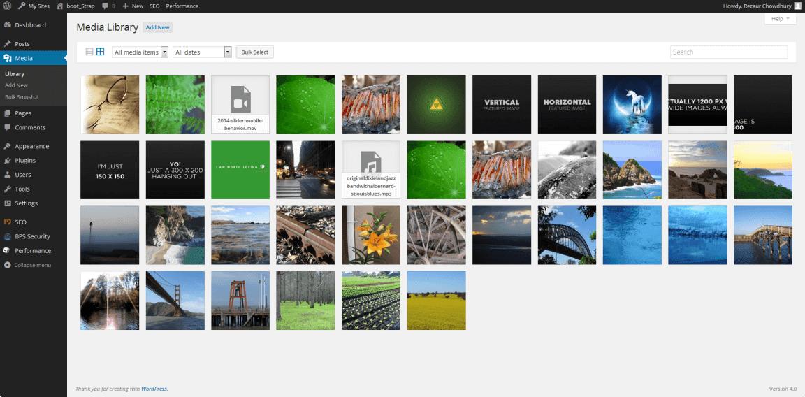 WordPress Media Library Screenshot