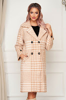 Palton SunShine cappuccino elegant din lana