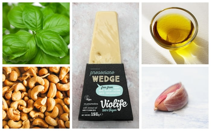 Vegan Cashew Pesto Ingredients - basil, cashew nuts, olive oil & vegan parmesan