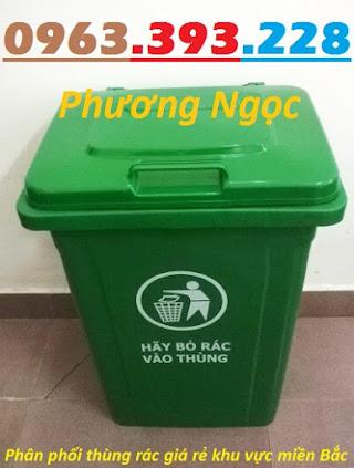 Thùng rác nhựa 90L nắp kín, thùng rác 90 Lít công cộng, thùng rác nắp kín TR90LNK3
