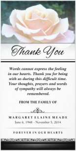 white rose flower funeral sympathy thank you card by Julie Alvarez Designs