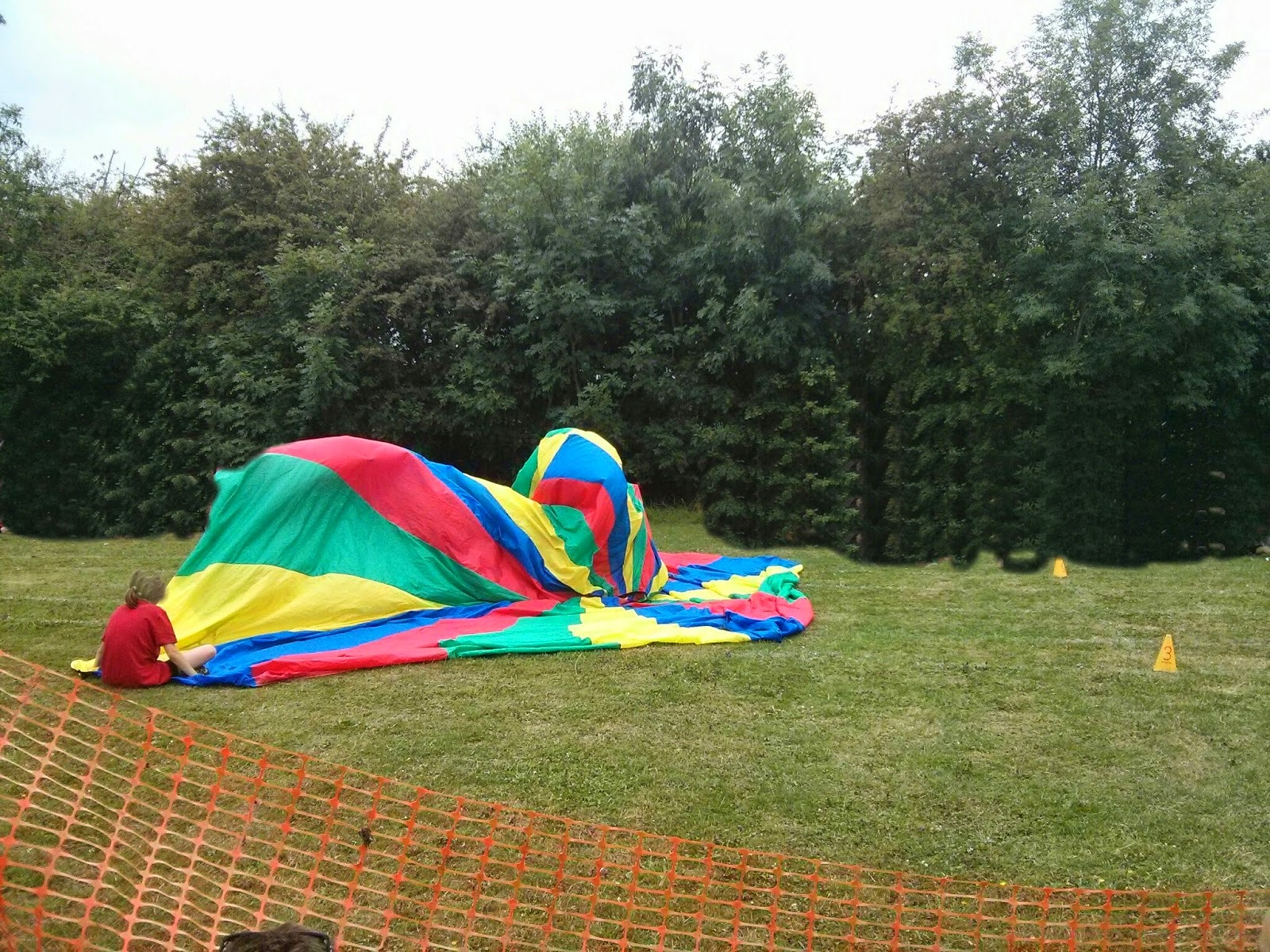 Top Ender in a parachute on Sports Day