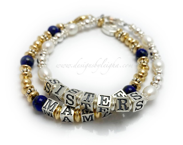 Gold, Lapis and Sterling Silver Mamae Bracelet with a Survivor Bead.