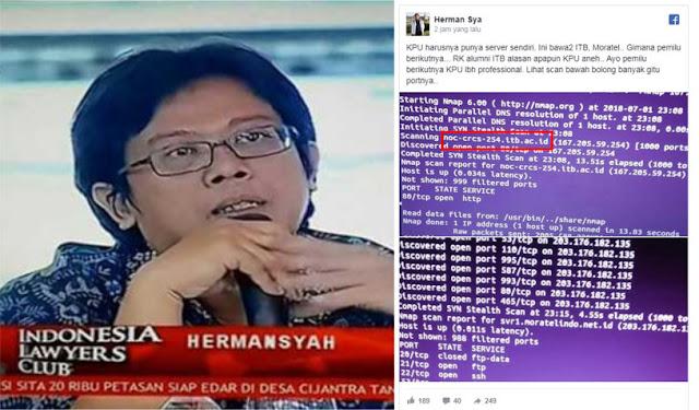 Pakar IT Hermansyah Soroti Situs KPU Yang Dinilai Janggal, Kok Ada ITB di Port Situs KPU?