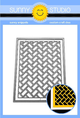 Sunny Studio Stamps: Frilly Frames Herringbone A2 Background Backdrop with Stitched Frame Metal Cutting Dies