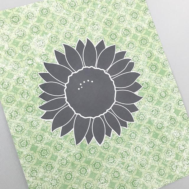 Black sunflower on a green craft paper