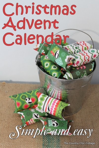Recycled paper rolls and Christmas paper remnants make this Advent