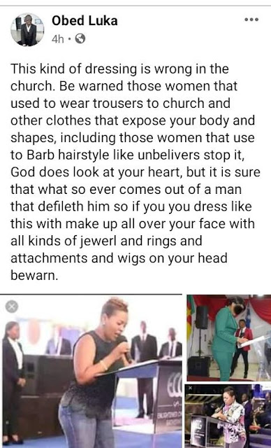 It is wrong to wear clothes that expose your shapes, trousers, wigs, and jewelleries to church– Nigerian man reveals
