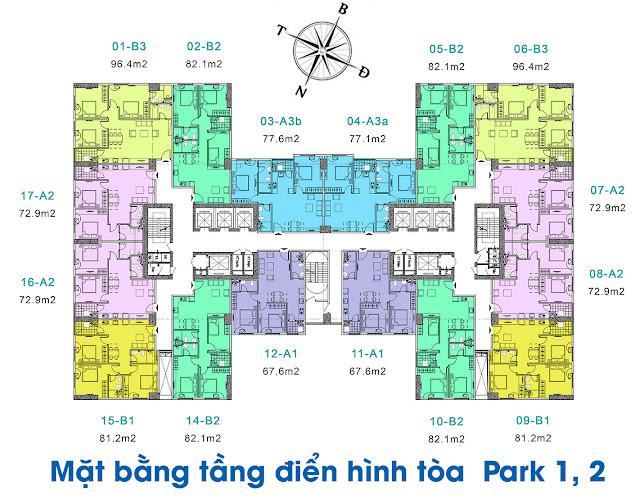 Mặt bằng tổng thể tòa Park-1 và Park-2 chung cư EuroWindow River Park