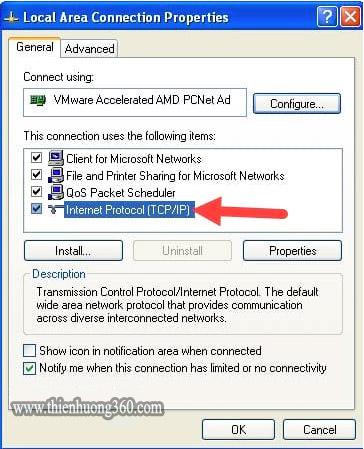 Cách đổi DNS để vào Facebook Windows XP - Bước 6