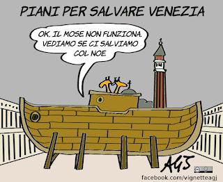 venezia, acqua alta, mose, noè, disastri, grandi opere, umorismo, vignetta, satira
