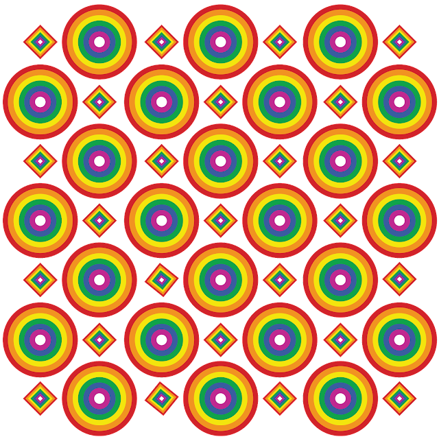 Gay Pride - Circles and Diamonds Rainbow Pattern of Pride