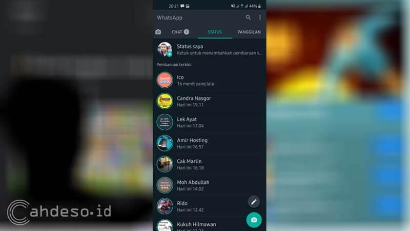 Download Status WA dengan Screenshot