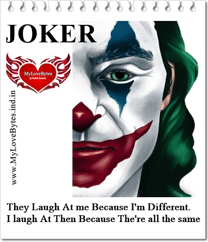 Best Joker Quotes On Crazy Love Pain, Being Different in Love Relationships
