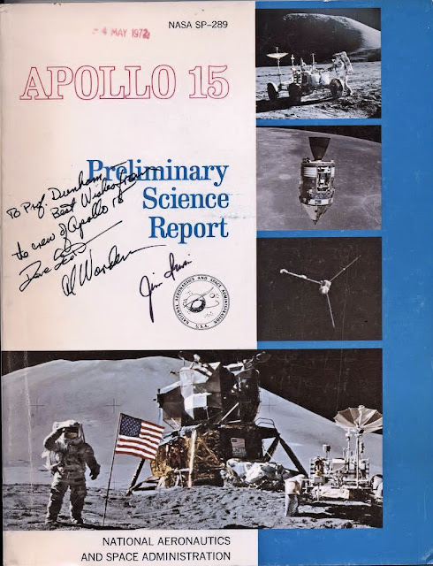 Inscribed cover of Apollo 15 Preliminary Science Report