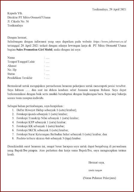 Contoh Application Letter Untuk Sales Promotion Girl Mobil (Fresh Graduate) Berdasarkan Informasi Dari Website
