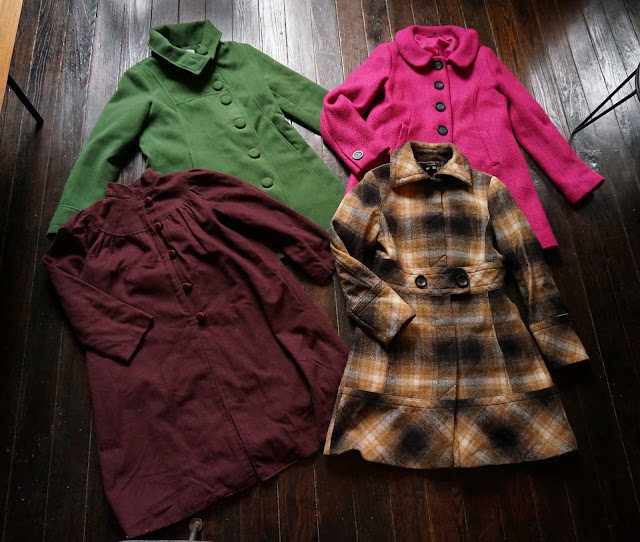 woolen coat plaid check pink brown mustard green burgundy vintage