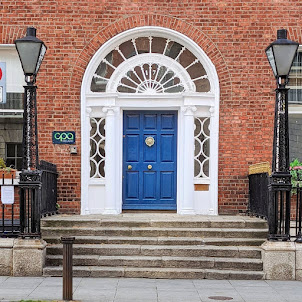 Blue Georgian door on Harcourt Street in Dublin Ireland