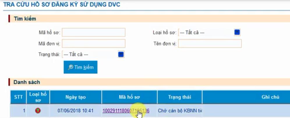 Hình 21 - Hồ sơ ở trạng thái Chờ cán bộ KBNN tiếp nhận
