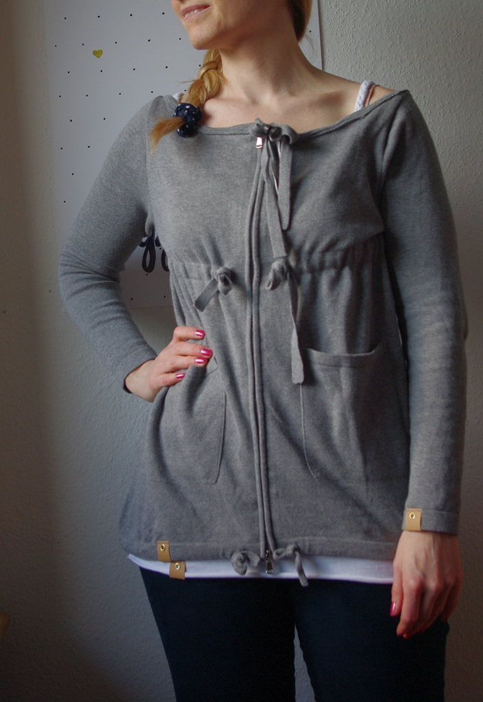 Upcycling MAlotty von Kibadoo  Strickjacke grau Nähblog