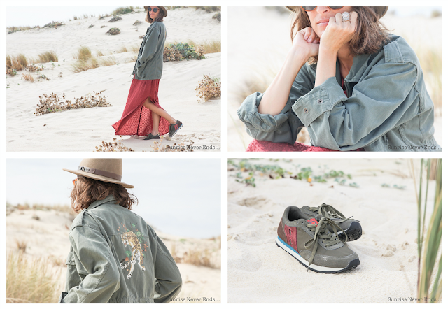 julie eye see,connotes,bensimon,veste army,surplus bensimon,mode,boho,bohème,gypsy,baskets,running