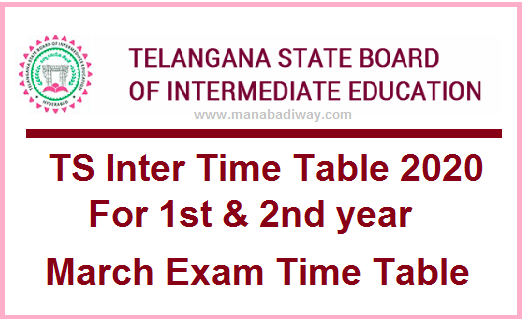 Manabadi TS Inter Time Table 2020 Download