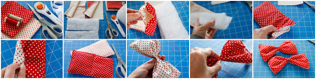 Step-by-step making a reversible oversized polka dot bow tie