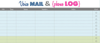 Something craftastical voice mail and phone log printable for Voice message template