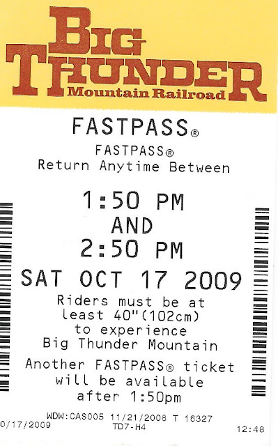 Big Thunder Mountain Railroad Fastpass October 17 2009
