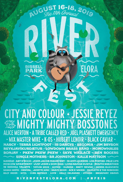Original line-up poster for Riverfest Elora on August 16, 17 and 18, 2019 One In Ten Words oneintenwords.com toronto indie alternative live music blog concert photography pictures photos nikon d750 camera yyz photographer summer music festival guelph elora ontario