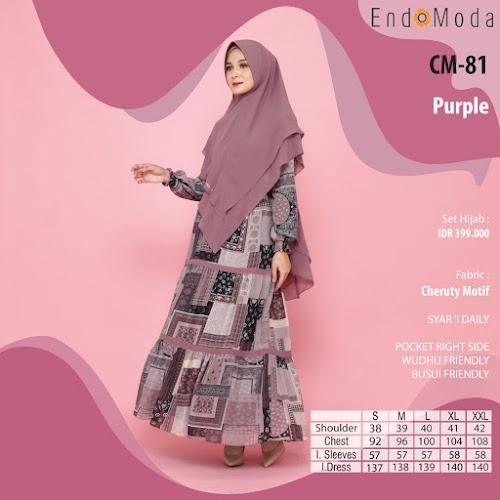 Endomoda Set Gamis CM 81 Purple Diskon