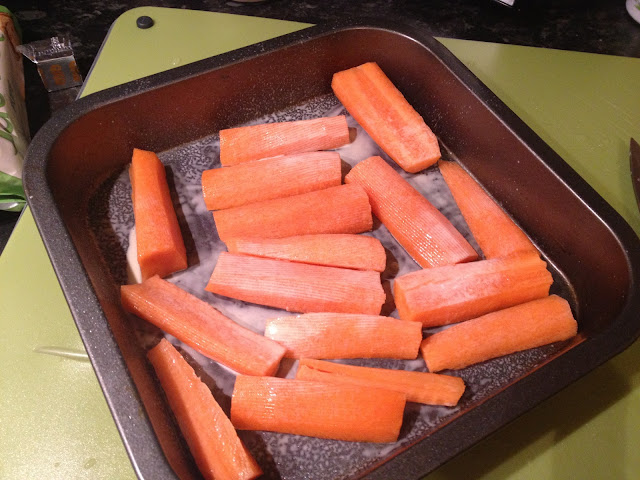 Carrots in roasting tin