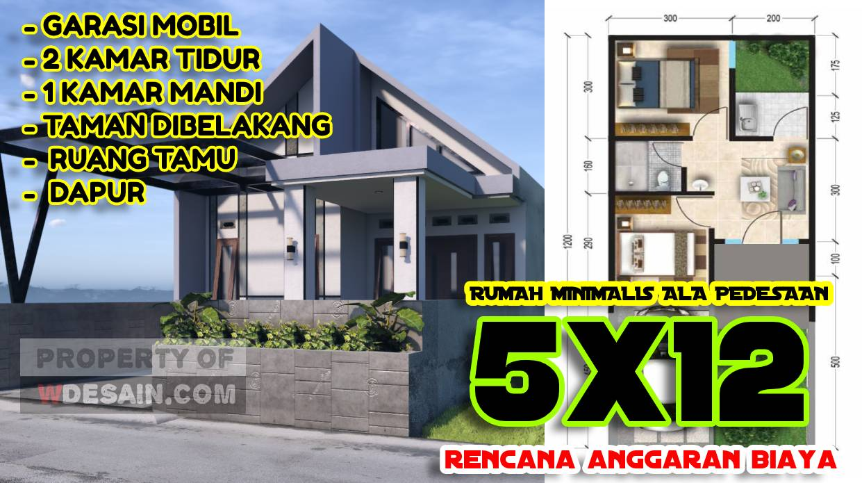 Model Rumah Minimalis 5x12 Komplit Dengan Anggaran Biaya Desain Rumah Minimalis