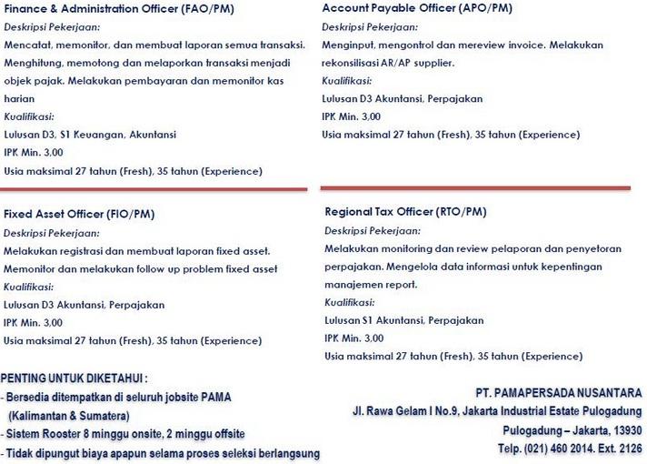 Lowongan Kerja PT Pamapersada Nusantara (PAMA) Tahun 2016