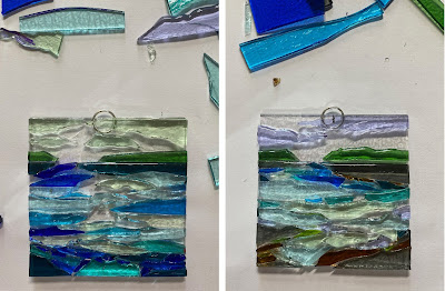 Fused Glass Abstract Landscape Wave Ocean Water Ornament Sharon Warren Glass FlutterbyButterfly Tack Painting watercolor
