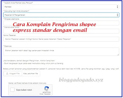Cara Komplain Pengiriman Shopee express standard  via email