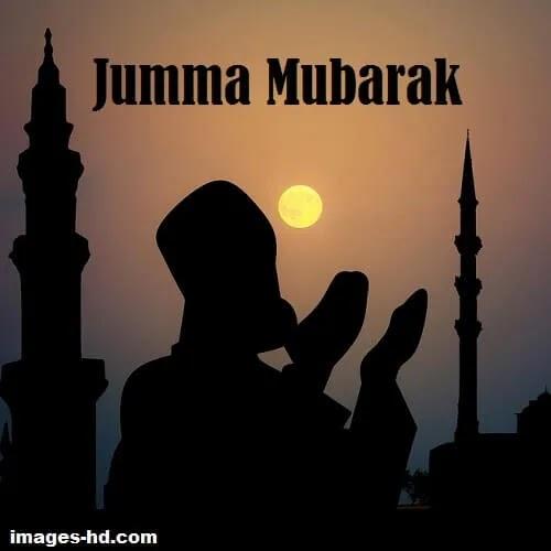 Jumma Mubarak DP with man offering prayer and sun.