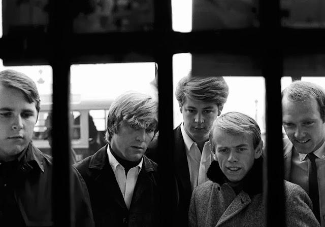 1964. The Beach Boys - Carl Wilson, Dennis Wilson, Brian Wilson, Al Jardine, Mike Love - on the Champs-Élysées, Paris (photo by Roger Kasparian)
