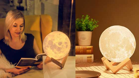3D Moon Night Lamp with Plastic Stand for Adults and Kids, Beautiful Indoor Lighting - 10CM