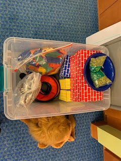 large plastic bin with large cardboard blocks, circular bean bags, large bag of star finger puppets, and bag of wrist ribbon flags