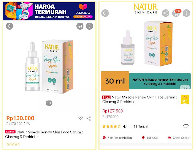 natur miracle renew skin serum gingseng and probiotik