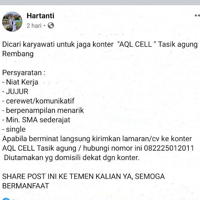 Lowongan Kerja Pegawai AQL Cell Tasikagung Rembang