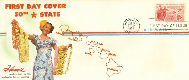Hawaii 50th US State First Day Cover, Postmarked Honolulu