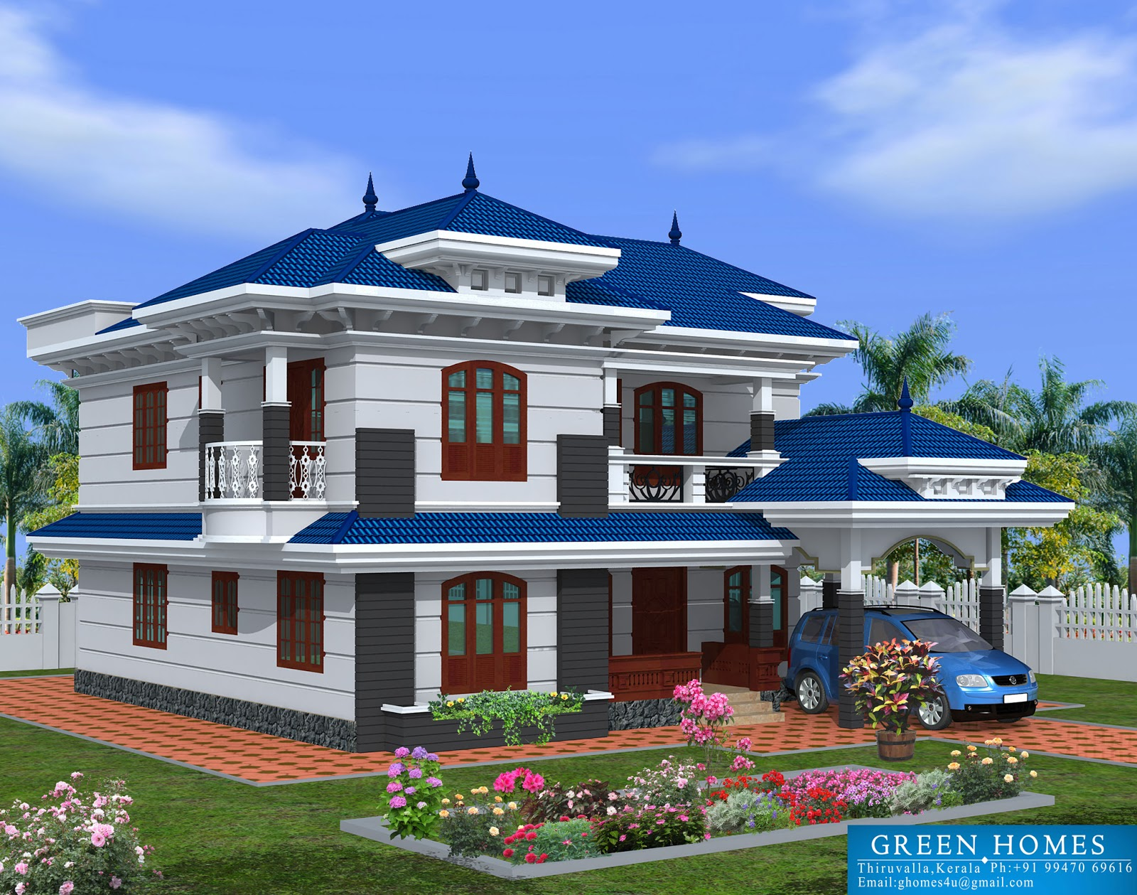 green homes beautiful kerala home design 2222sqfeet - Home Design Construction