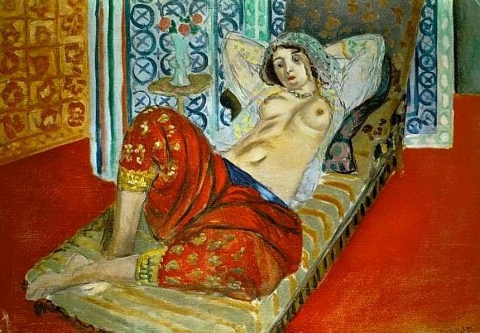 Odalisca com Calças Vermelhas - Pinturas de Matisse, Henri - (Fauvismo) Francês
