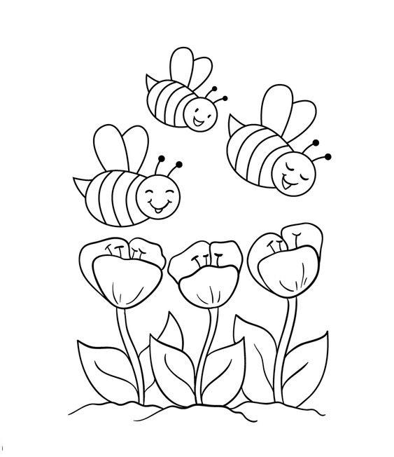 Tranh tô màu bông hoa và con ong